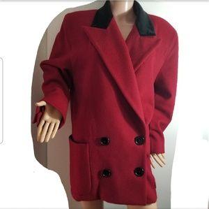 Red Wool Pea Coat sz Medium